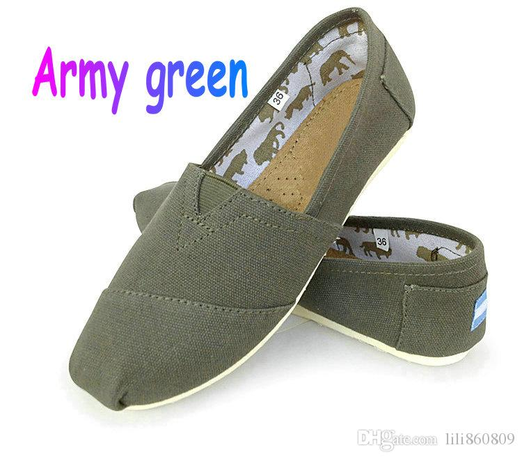 Casual Shoes Women Men Classics TOM MRS Loafers Canvas Slip On Flats Shoes  Lazy Shoes Size W5 W10 M11 M15 Army Green Indoor Soccer Shoes Oxford Shoes  From ... 597c7c2ca38