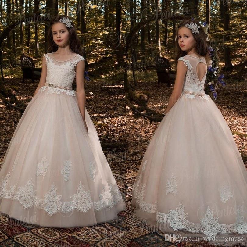 171709c172f2a Vintage Flower Girl Dresses For Weddings Blush Pink Custom Made Princess  Beads Appliqued Lace Kids First Communion Gowns