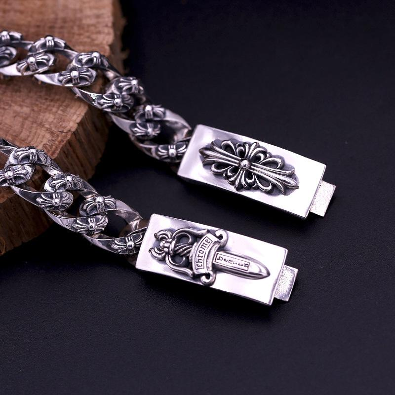 2018 new 925 sterling silver vintage jewelry American brand antique silver hand-made designer thick links crosses mens bracelets hot