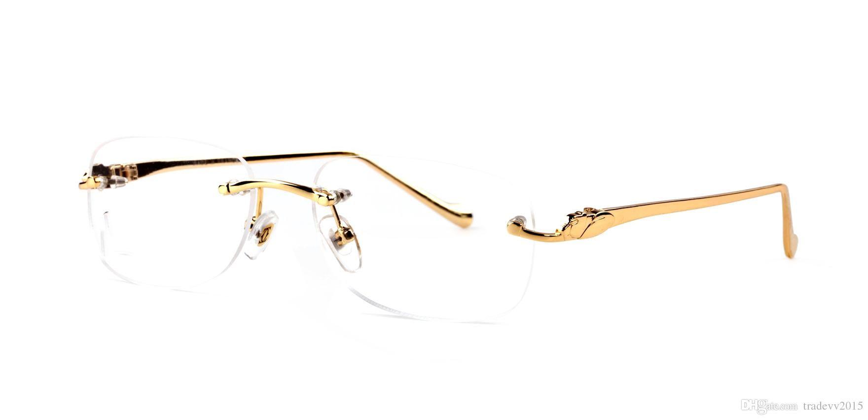 550612f11b2 Luxury Gold Silver Rimless Frames Buffalo Horn Glasses Clear Green ...