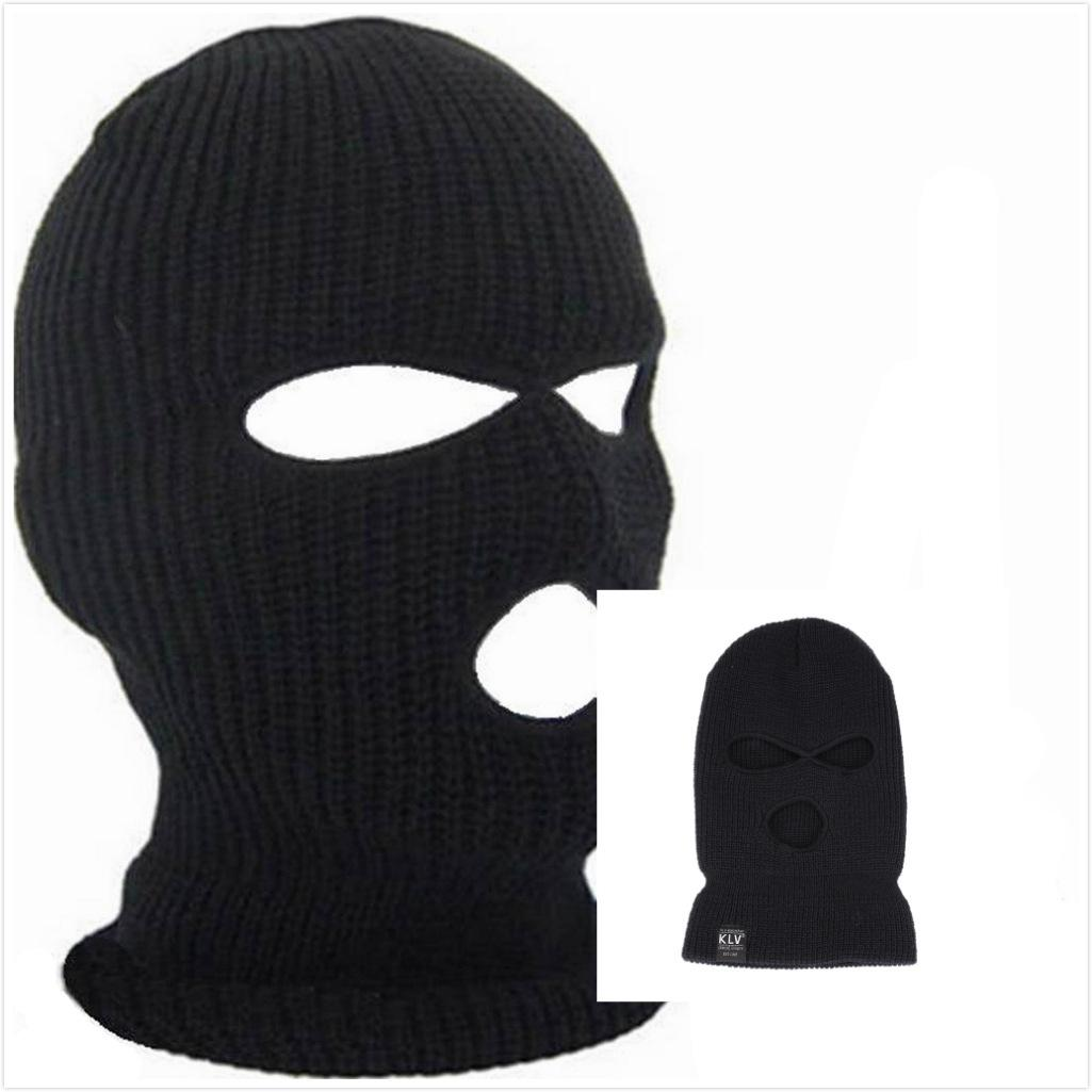 5ec51bbc130 Full Face Cover Mask Three 3 Hole Balaclava Knit Hat Winter Stretch Snow  Mask Beanie Hat Cap New Black Warm Face Masks Snapback Caps Baby Hats From  Htlove
