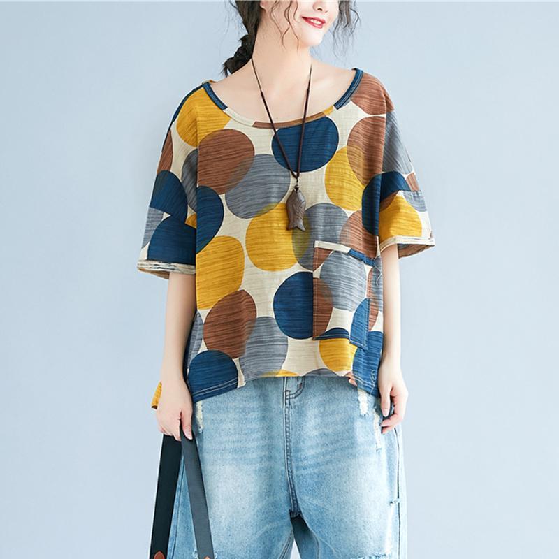 284b88b8328228 Johnature Women T Shirts 2018 Summer New Pockets Polka Dot Bat Sleeve O  Neck Loose Vintage Casual Tops Women Clothes Shirt Y1891307 Buy Funny T  Shirts ...