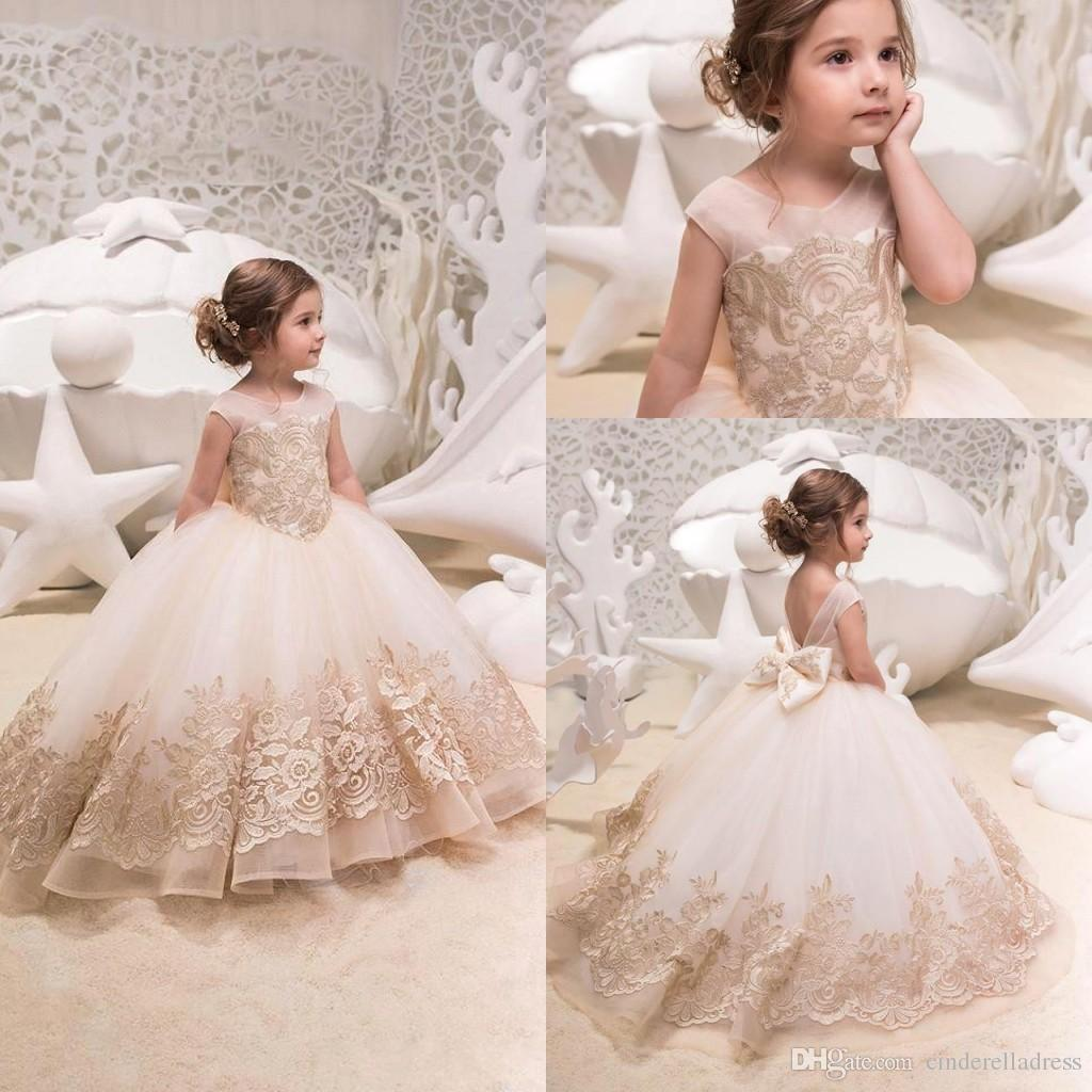 8db48973ca8 2019 Cute Tulle A Line Flower Girl s Dresses Lace Applique Ruched Bow Sash  Low Back Floor Length Girl s Birthday Party Pageant Dress BC0063