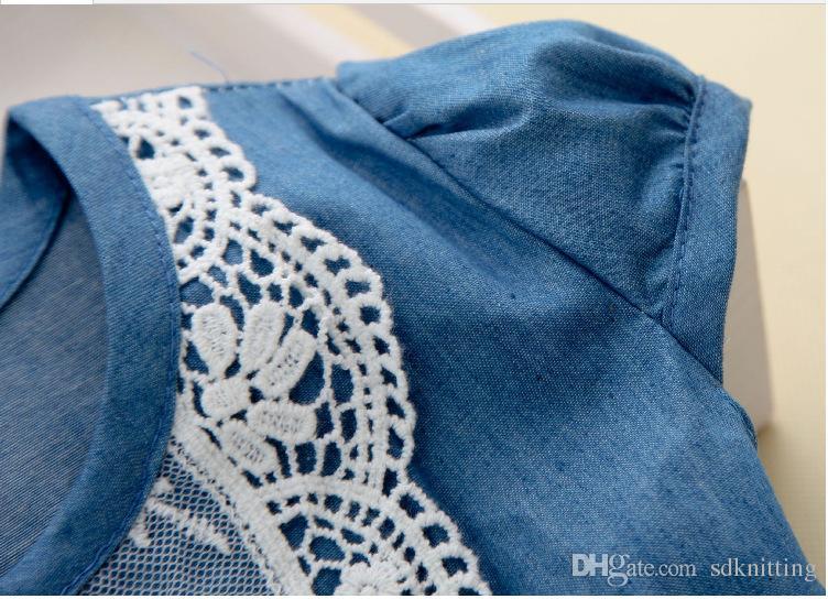 INS Hot Girls Lace Denim Tutu Flower Tulle Dress With Belt Short Sleeve Baby Kid's Princess Blue denim Dress