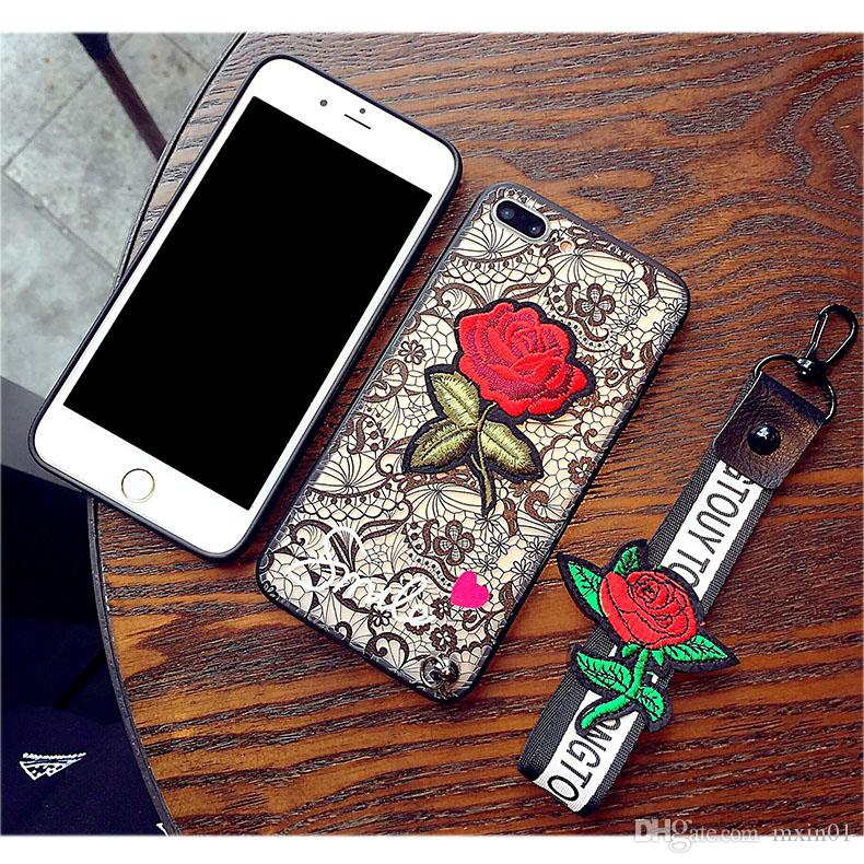 3D Lace Rose Flower With Lanyard Case For iPhone X 6 6S 7 8 Plus Samsung S7 Edge S8 S9 Note Note8 J2 J5 J7 Prime 2017 A6 J4 J6 J2 Pro 2018