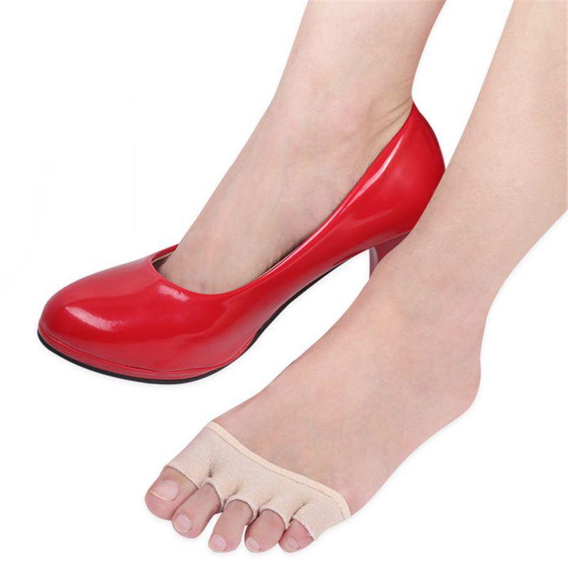Chaussettes à cinq doigts Chaussettes à bout ouvert Chaussettes avant-pied Coton absorbant la sueur et talon haut. Coussin pour soulier antidérapant.