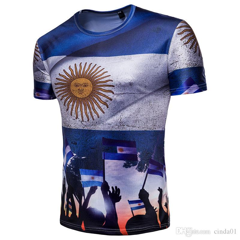 88482bfbc0e New 2018 Russia World Cup Tshirts Argentina Printed Mens Short Sleeves Tops  Souvenirs Football Fans Tees Go T Shirts Really Funny Shirts From Cinda01