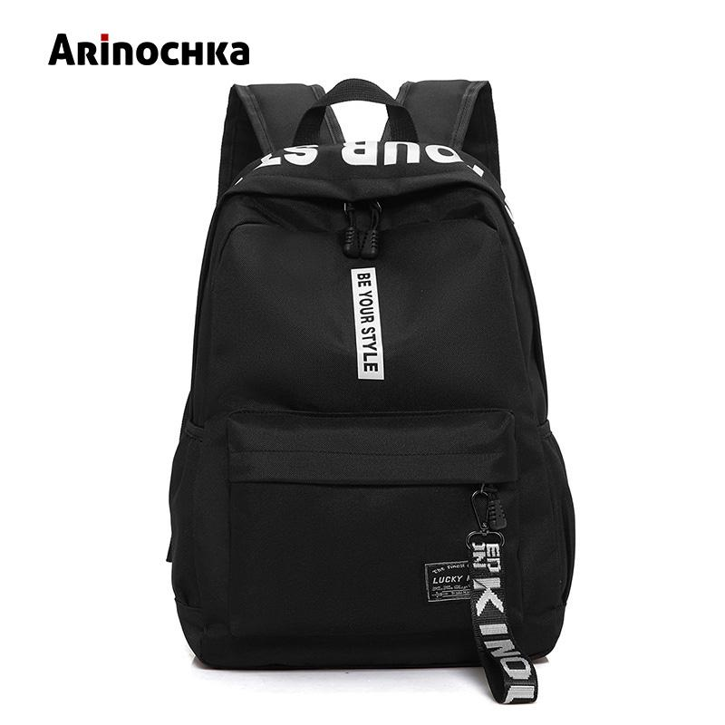 71b28c1f74f Female Fashion Junior High School Backpack Letters Print School Bags for  Girls Black Backpack Teenagers Canvas Schoolbag School Bags Cheap School  Bags ...