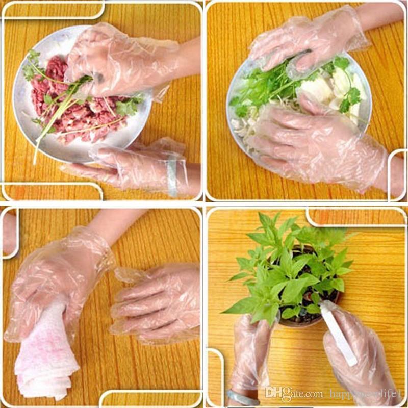 100 adet / takım Çevre Dostu Tek Kullanımlık Eldivenler Tek-off Plastik Eldivenler Gıda / Temizlik / Pişirme Mutfak Bahçe Aksesuarları