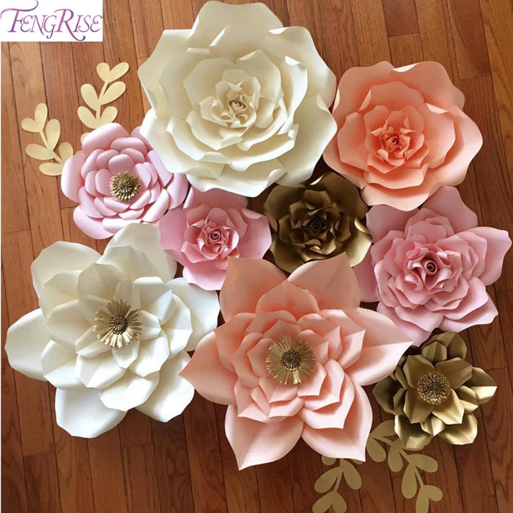 2018 Wholesale Fengrise 20cm Diy Paper Flowers Backdrop Blue