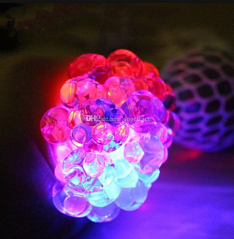 New Anti Stress Face Reliever Led Light Up Grape Ball Autism Mood Squeeze Relief Healthy Toy Funny Geek Gadget Vent Toy