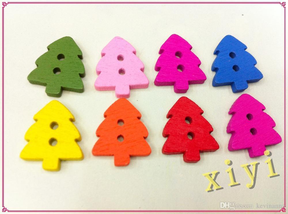 200pz Albero di Natale 2 fori Bottoni in legno Decorazioni natalizie Bottoni in legno Giraff Flatback, Bottone in legno bambini, Scrapbooking