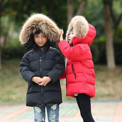 433a3933c6b6 Boys Winter Jacket Children Duck Down Long Section Jacket Girls Warm ...