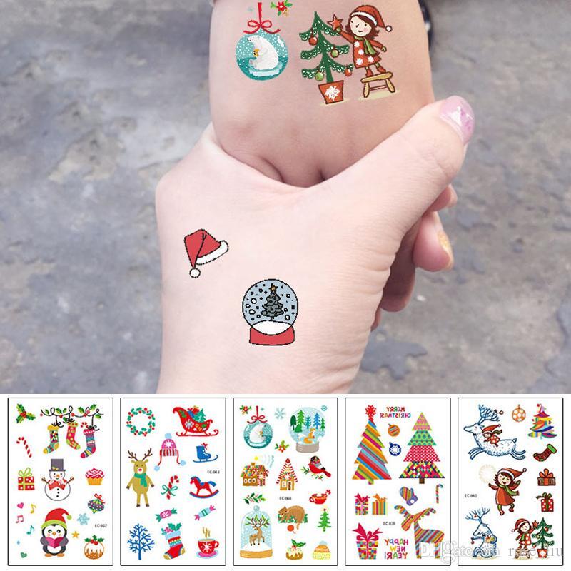 Acheter Autocollants De Tatouage De Dessin Anime Cadeau De Noel