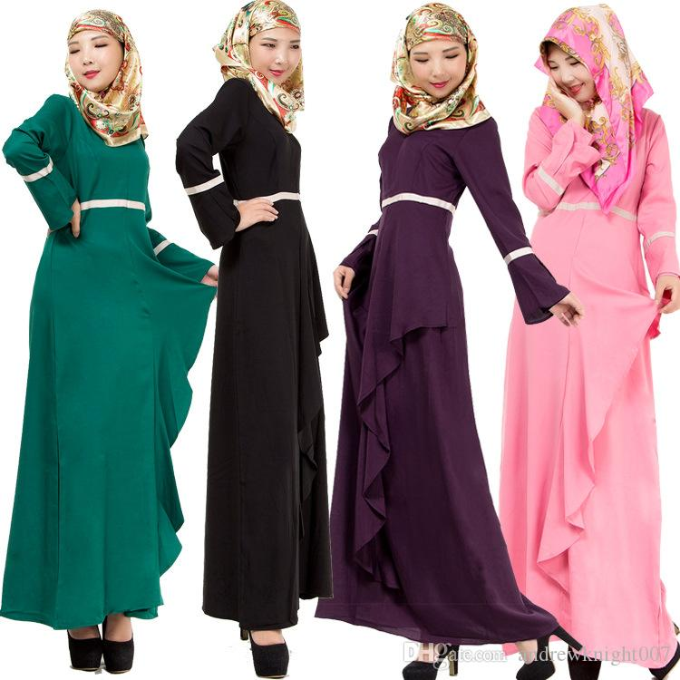 Мусульманские женские кафтан Абая Исламское платье О-образным вырезом с длинным рукавом империи талии шифон длина пола женская этническая одежда DK725MZ