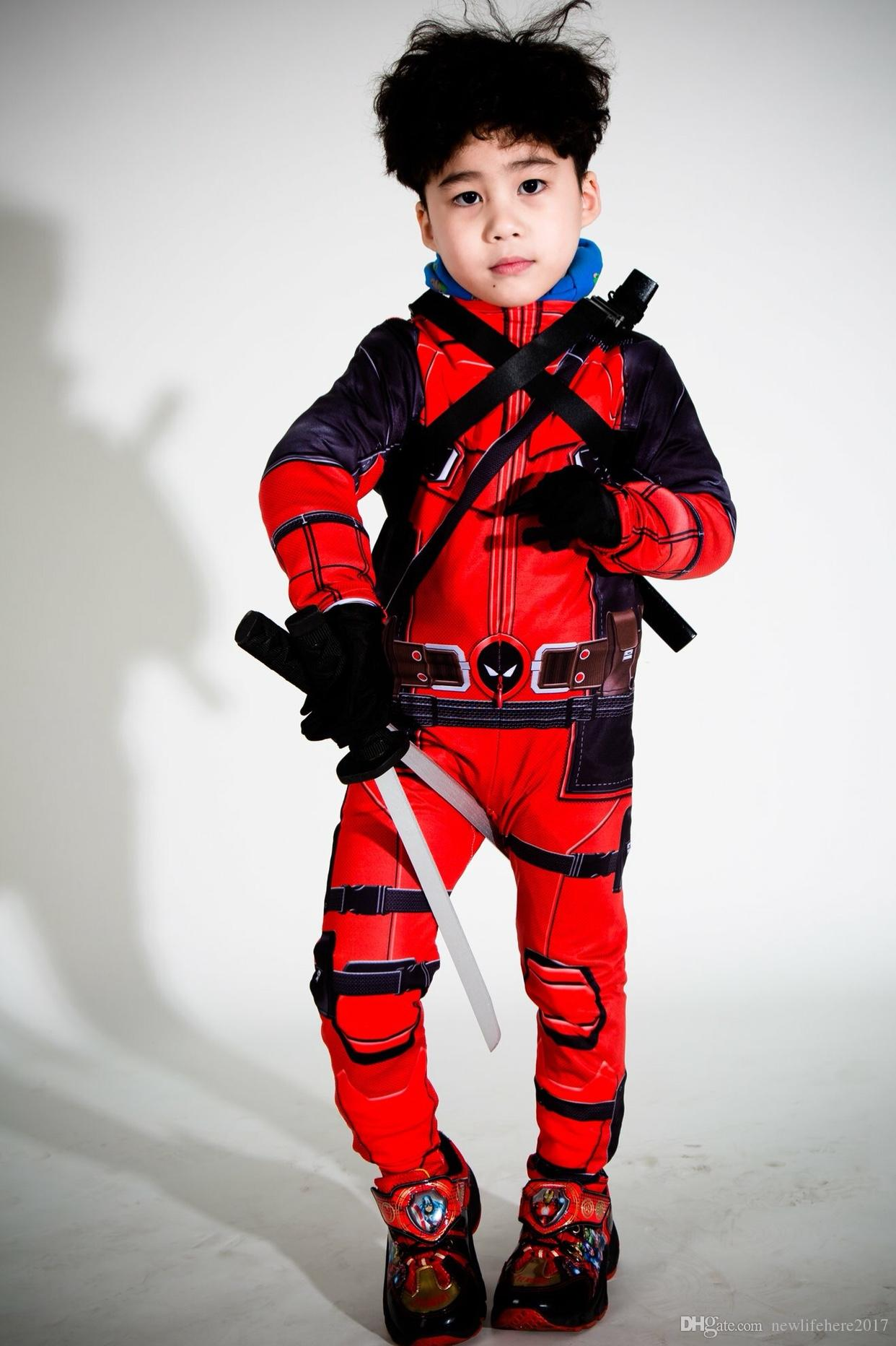Hot Kids Deadpool Cosplay Halloween Cosplay Full Body Deadpool Costume Adult Digital Print Lycra Costume