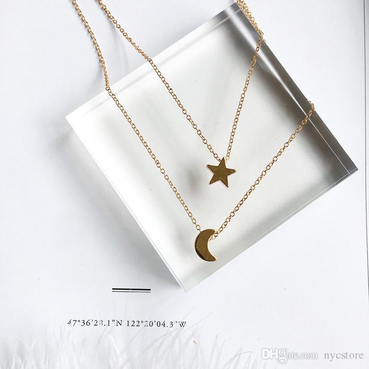 Acheter Bijoux De Mode Or Couleur Lune Étoile Soleil Pendentif Colliers  Pendentif Croissant Long Colliers Pour Femmes 2 Pièces   Ensemble En Gros  De  0.67 ... ba9269714356