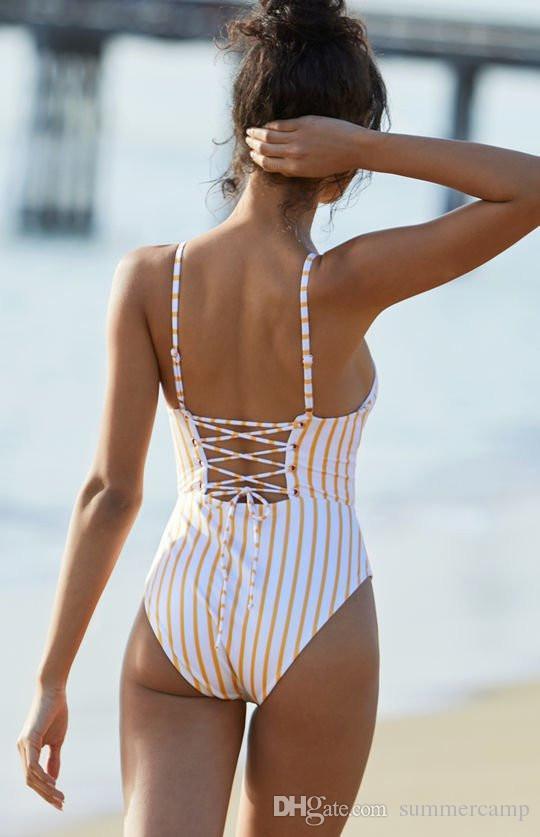 SummerCamp 2018 NEW Yellow stripe one piece woman clothing swimwear Thin bikini Triangular bandage backless bikinis