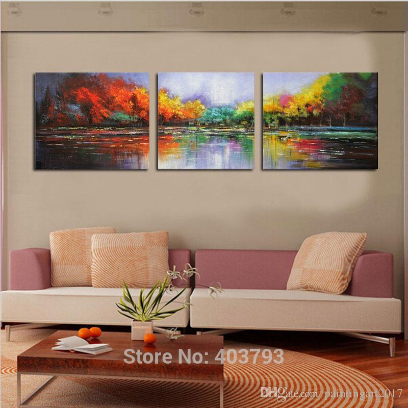 Wall Art Hand Painted Oil Painting Modern Landscape Wall Art on Canvas Abstract Lake Scenery For Home Decoration Unframed