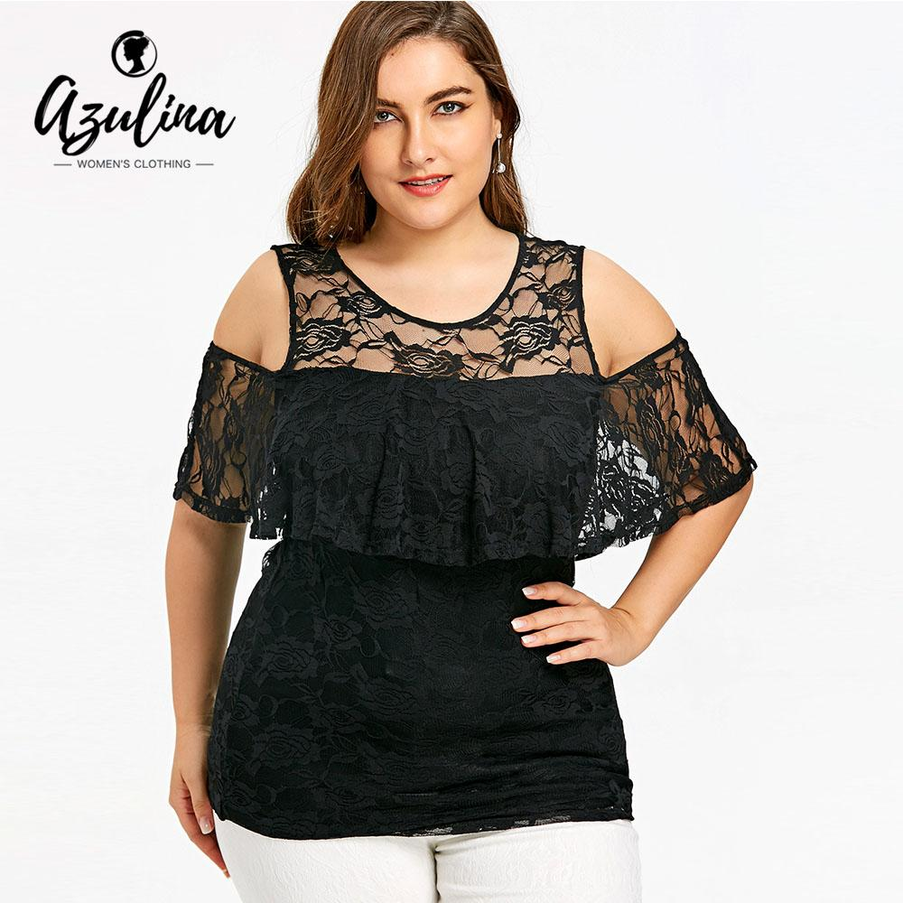 5856ab24ea2 2019 AZULINA Plus Size Cold Shoulder Overlay Lace Blouse Women Short Sleeves  O Neck Black Top 2018 Summer Blouses Shirts Ladies Tops From Bunnier