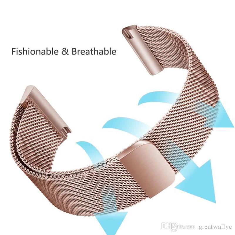 Fitbit Versa 스마트 시계 교체 용 Milanese 스테인레스 스틸 마그네틱 루프 팔찌 손목 밴드 스트랩