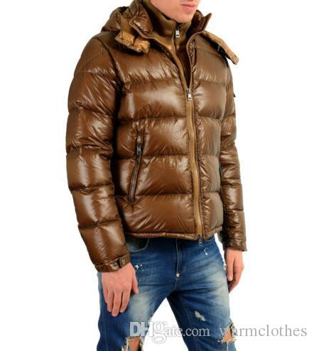 beb72f50c 2018 Brown Down Duck Coat Short Jackets Men s ZIN Brown Down Hooded Parka  Jacket M Brand Luxury Designer Winter Keep Warms Clothing