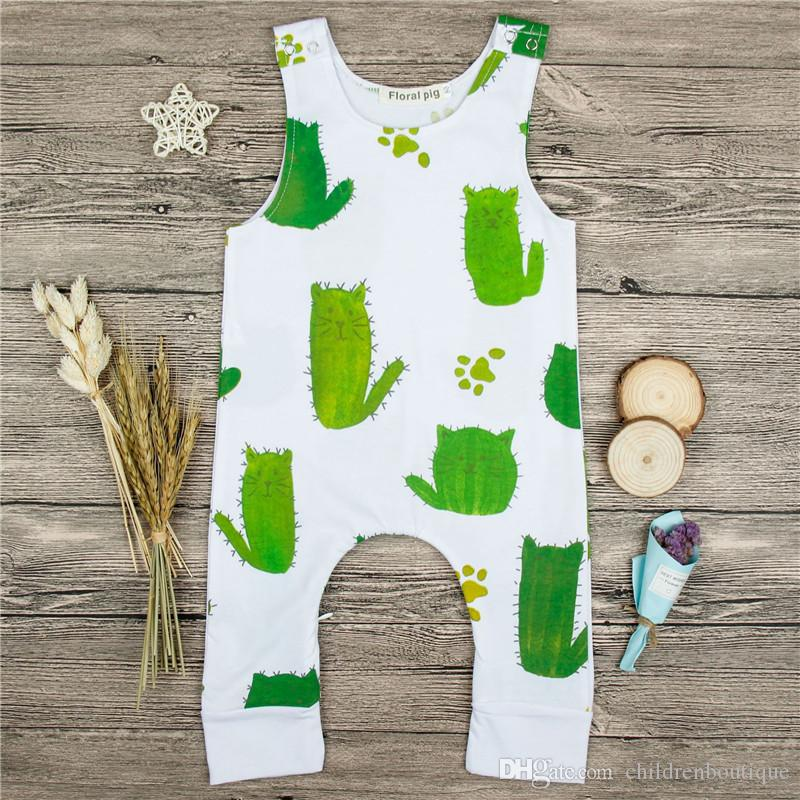 2377d81661c 2019 Cotton Newborn Baby Boys Clothes Cactus Printed Baby Romper Jumpsuit  Sleeveless Summer Baby Girls Rompers Children Kids Clothing 0 18 Month From  ...