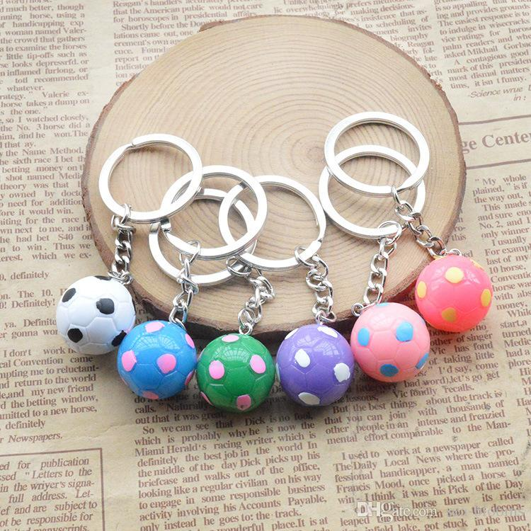 Hot Sale Sport Football Keychains Small Soccer Pendant Key Rings For Fan Souvenir Gift Key Holder Random Color Send Free DHL G733Q