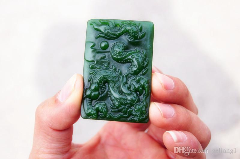 Free delivery - beautiful outer Mongolia emerald dragon dance amulet. Hand-carved rectangular necklace pendant.
