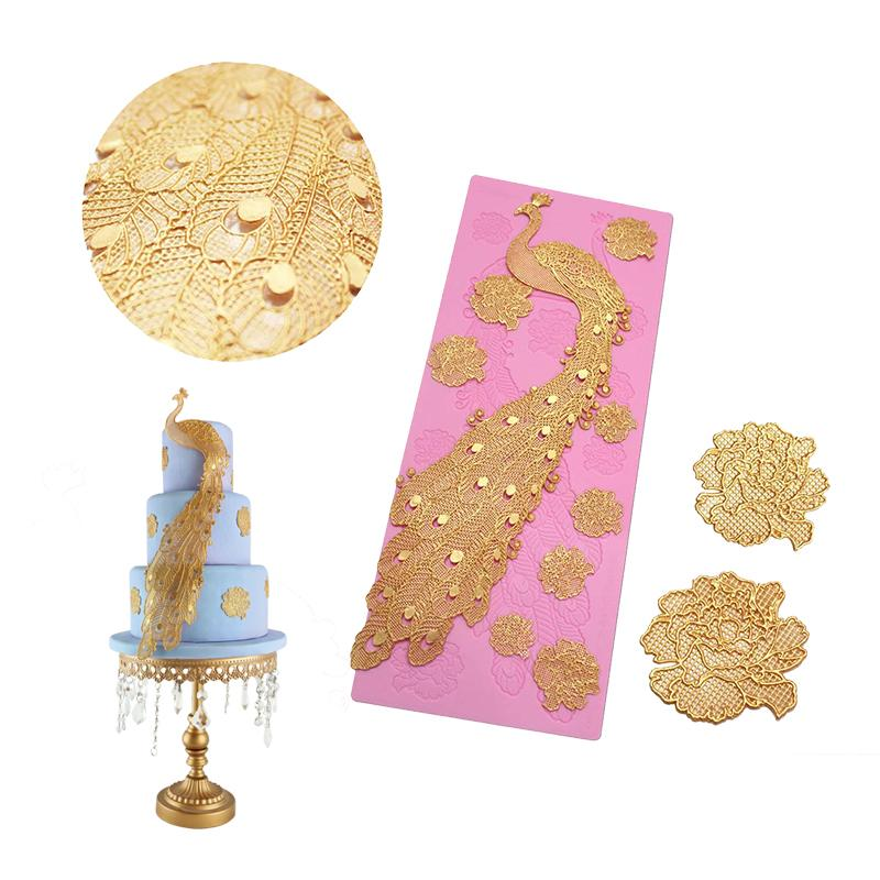 New Peacock Lace Silicone Mold Fondant Cake Decoration DIY Baking Pads Liquid Silicone Soap Mold