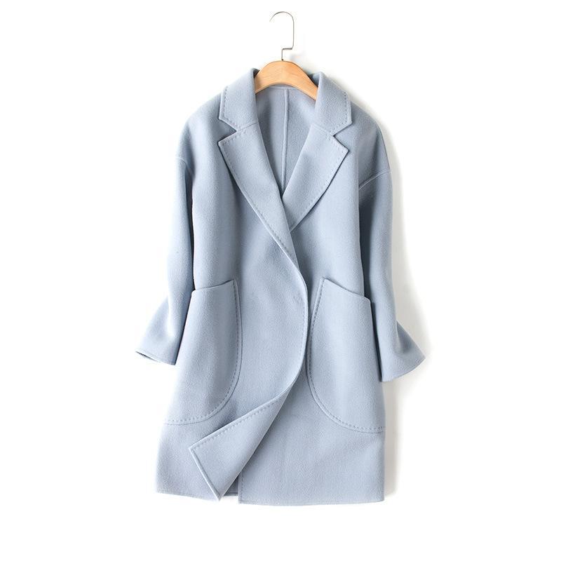 reputable site c3342 04e86 Purebliss 2017 OL grau hellblau 100 Kaschmirwolle Mischung Winter langen  Mantel Frauen Maxi Wollmantel für Frauen