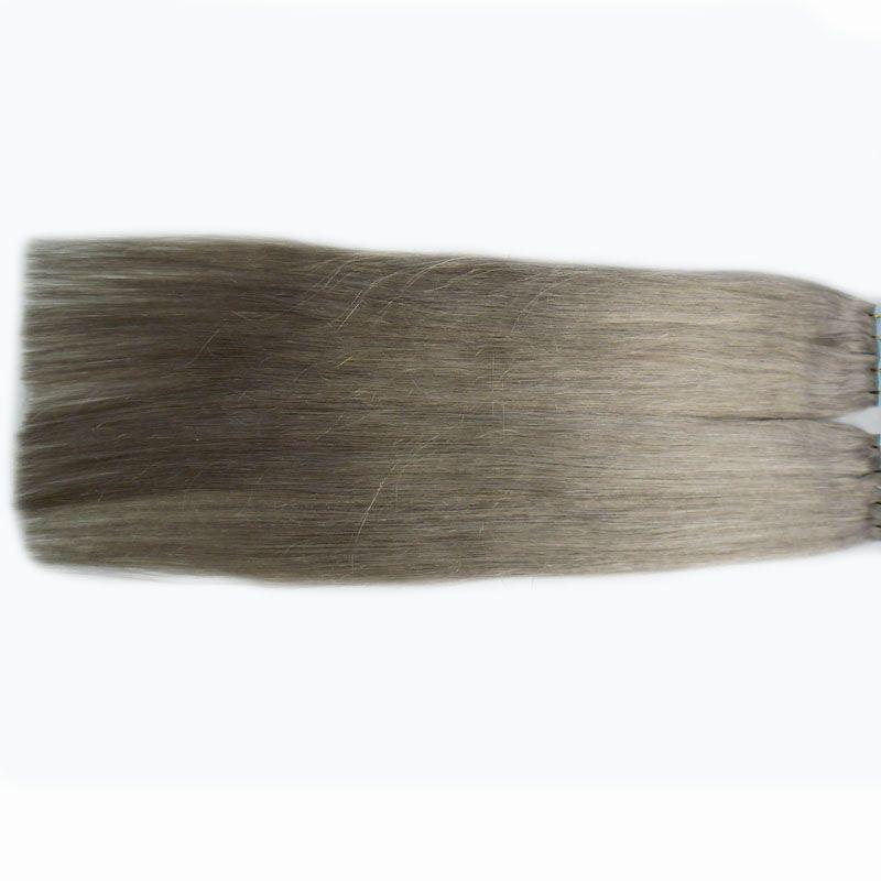 Fita cinzenta do cabelo 200g / Set de trama do cabelo da pele 7fa da fita das extensões do cabelo da fita 7a em extensões do cabelo humano