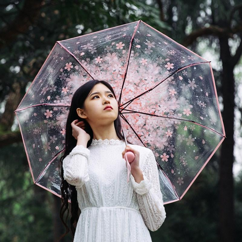 2018 transparent umbrella three fold sun rain umbrellas acrylic