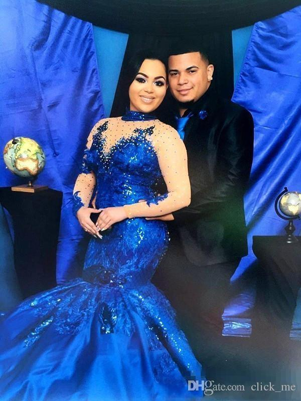 Saudi-Arabien Royal Blue Prom Kleider High Neck Nude Mesh Plus Size Long Sleeves Abendkleider Satin Meerjungfrau Forma Frauen Party Wear