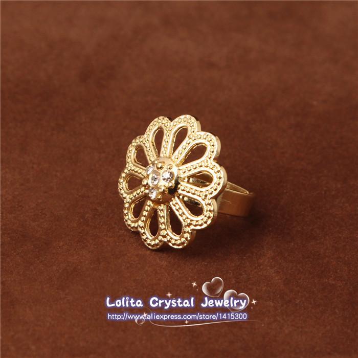 Золото заполненные Дубай Африканский австрийский хрусталь цветок ожерелье браслет серьги кольцо свадьба / невеста комплект ювелирных изделий SJT011
