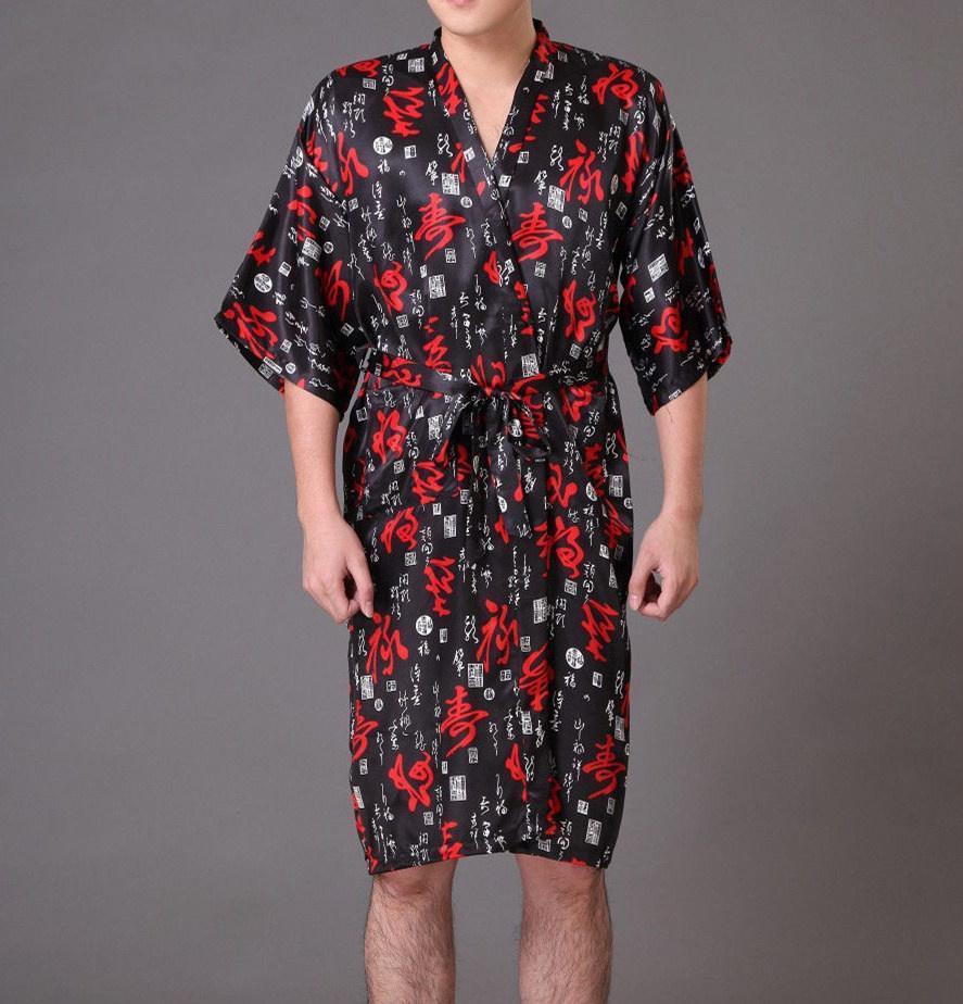 Black Men\'s Kimono Robe Bathrobe Sleepwear Faux Silk Bath Gown ...