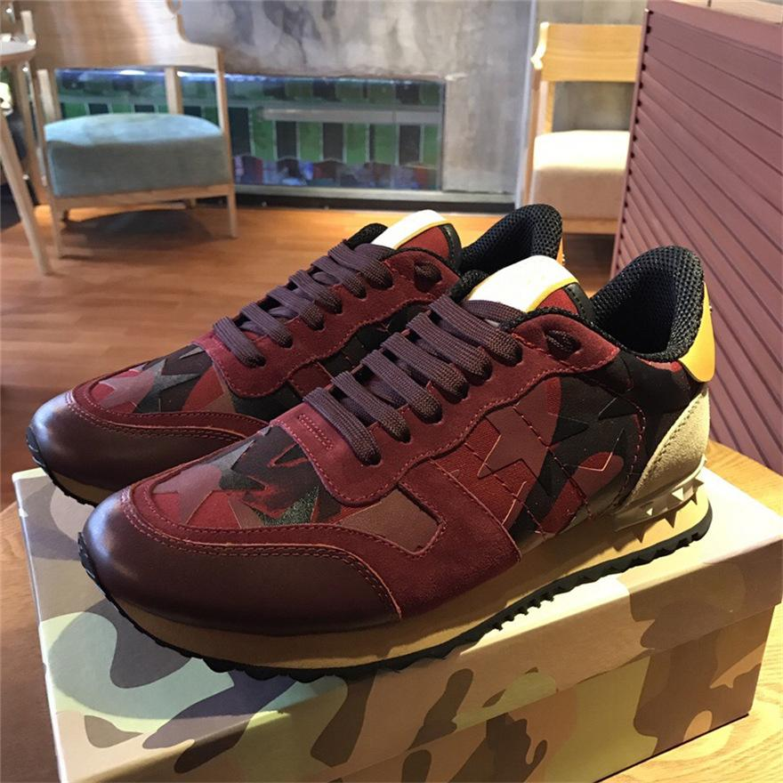 99e3bdff62f09 2019 Garavani CAMOUFLAGE ROCKRUNNER TRAINER LACE SNEAKER Fabric Canvas  Leather Suede Outdoor Running Shoes Sneakers Casual Shoes Men From Jury, ...