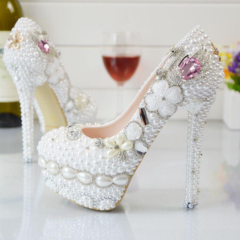 59539252e2f Pearl Flowers Wedding Shoes 2018 Pink Diamond Pumps High Heels ...