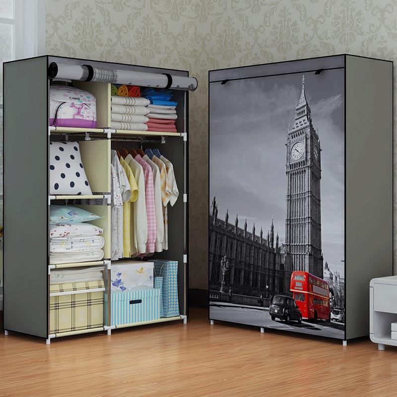 Schränke Schlafzimmer Möbel Minimalistischen Moderne Verstärkt Große Kleiderschrank Diy Vlies Faltbare Tragbare Kleidung Schrank Staubdicht Tuch Schrank