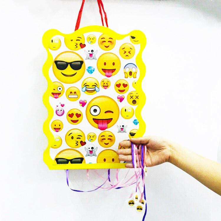 Cartoon Smile Face Emoji Folding Pinata Kids Birthday Party Game Decoration Funny Boys Supplies Gift Wrapping Business