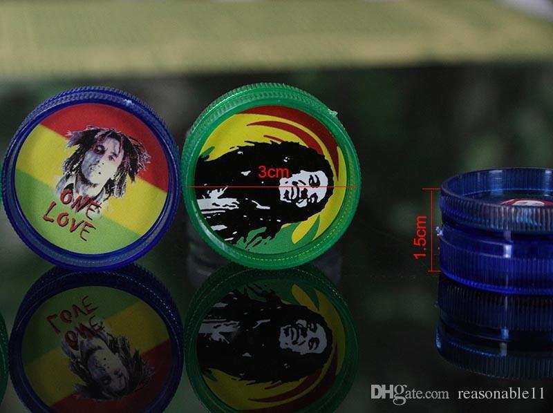 Erba secca BOB MARLEY Acrilico di plastica Mulino tabacco con magnete frullatore di erbe erbe tabacco da fumo