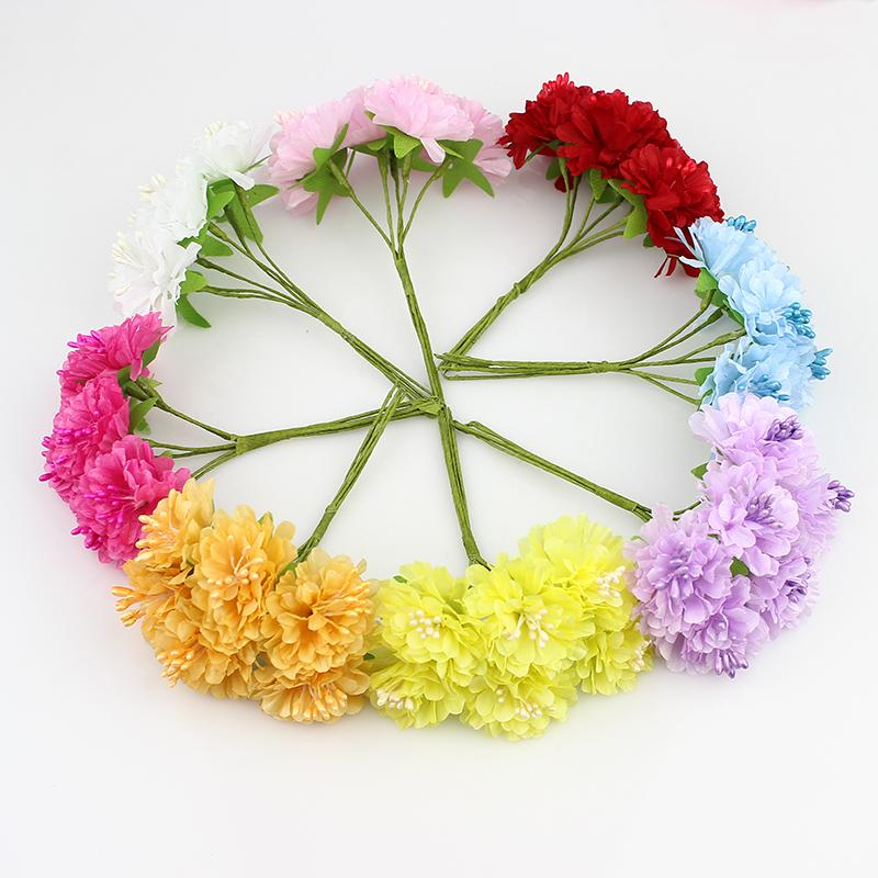 3cm 72pcs /Lot Silk Artificial Stamen Bud Bouquet Camellia Flower for Home Garden Wedding Car Corsage Decoration Crafts Plants