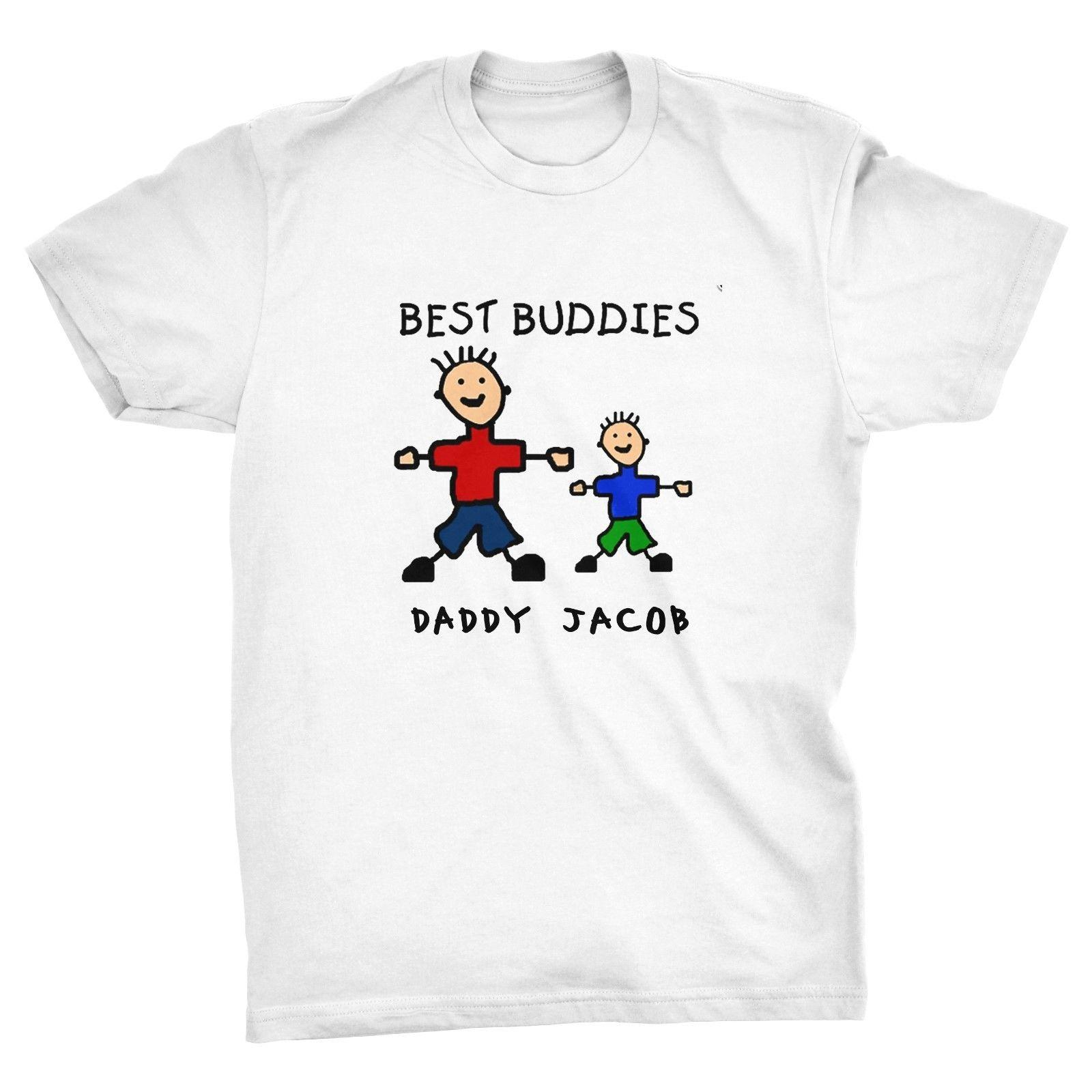 b4500718 Personalised Best Buddies Father's Day T-shirt, dad, daddy, friends, father  son Cartoon t shirt men Unisex New Fashion
