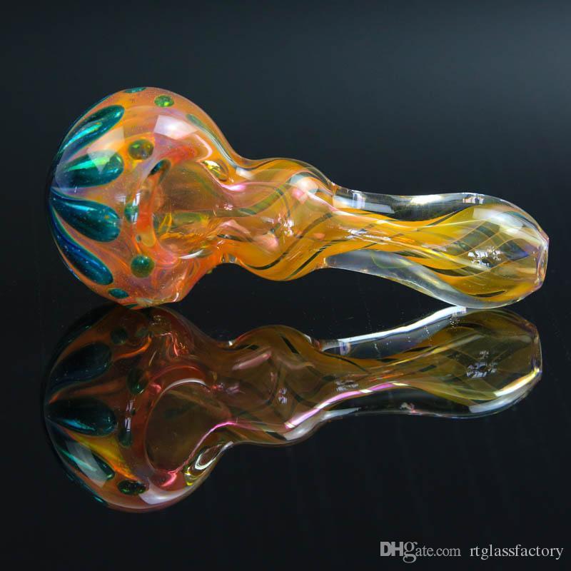 다채로운 밝은 스트라이프 유리 파이프 니스 흡연 파이프 9.5CM 손 파이프 잎 모양의 숟가락 파이프