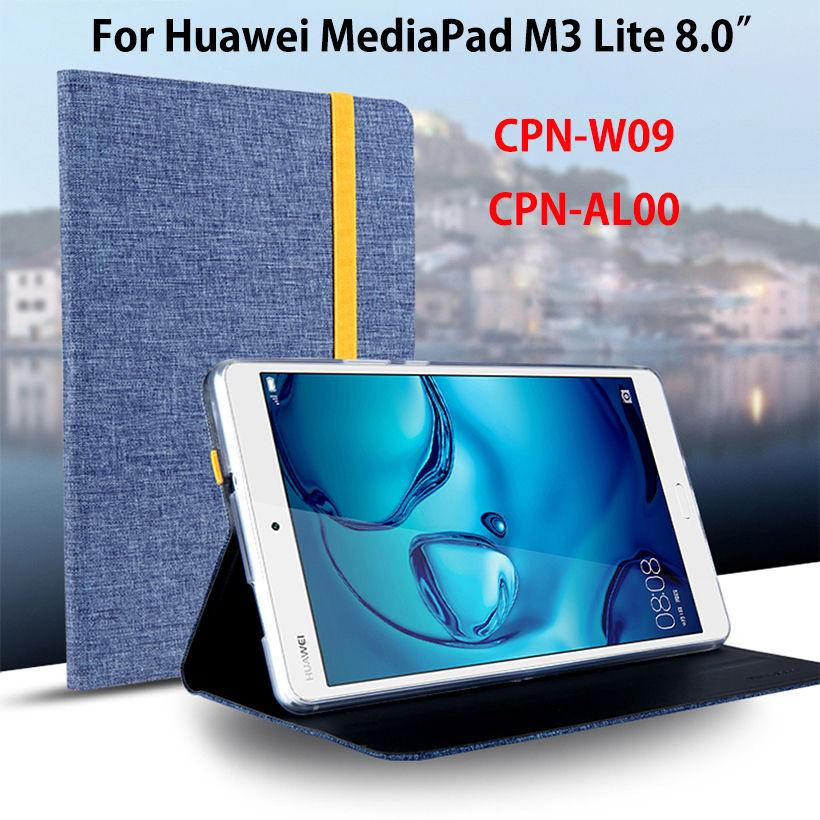 new style c4377 5c606 Case For Huawei Mediapad M3 Lite 8.0 CPN-W09 CPN-AL00 8 Smart Cover Funda  Tablet Silicon Cloth PU Leather Sleep Wake Shell