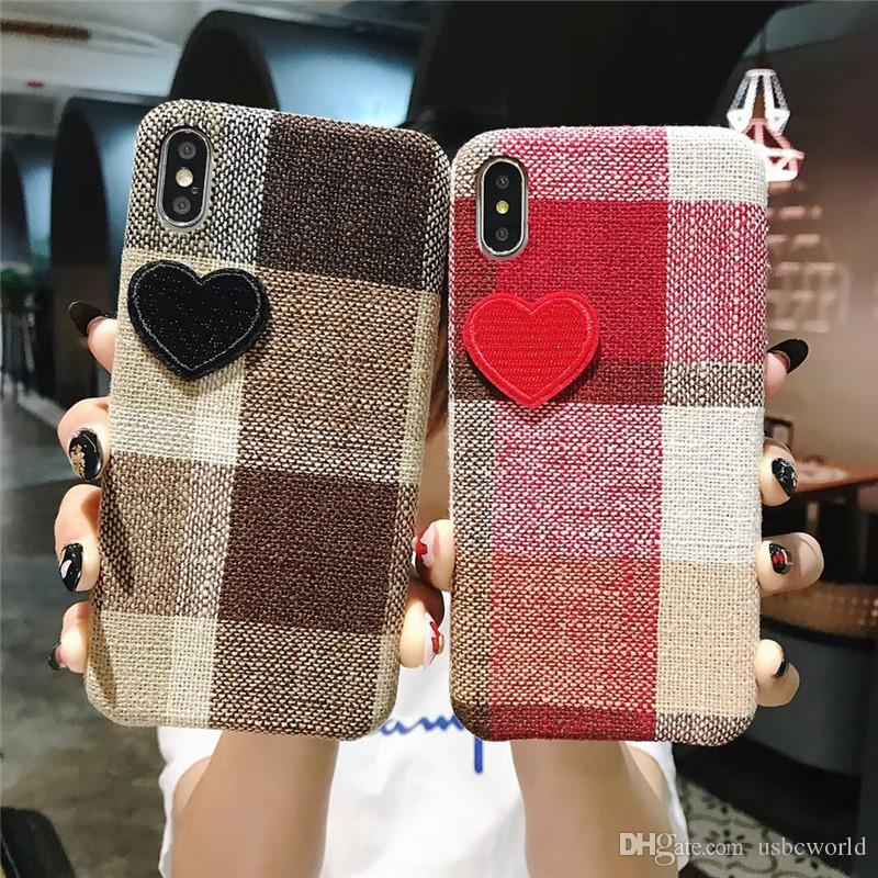 Luxury Embroidery Loving Heart Phone Case For Iphone X XR XS MAX Hard Back Cover For Iphone 6 7 8 Plus