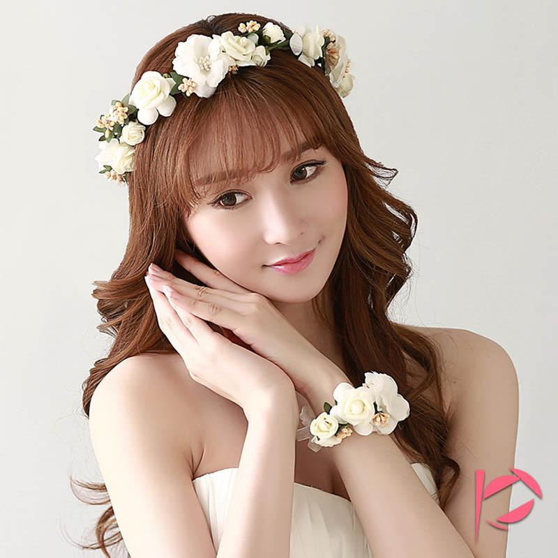 Headbands Accessories Headpieces Boho Wedding Tiara + Floral Wrist Flower Girl Garland Headwear Crown Of Flowers Hair Wreath