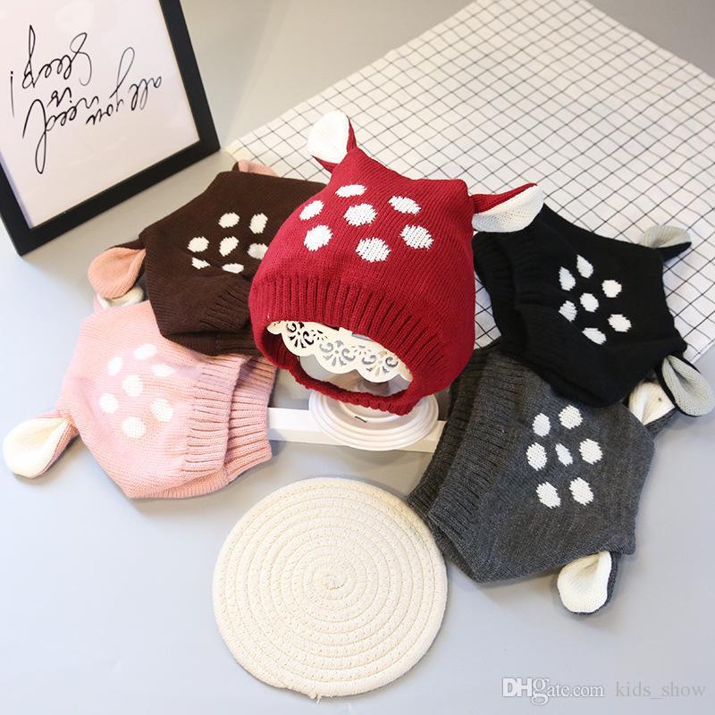 Cute Deer Ears Baby Girl Hat Knit Soft Baby Bonnet Warm Winter Hats Beanie Cap Baby Boys Girls Newborn Photography caps