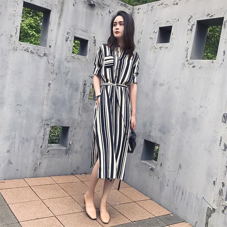 148ee1c9f62 Women s Style Stripe Half Sleeve Casual Swing Dress A-Line Skater Dress  Side Split Waist Slim Skirt Striped Chiffon Dress
