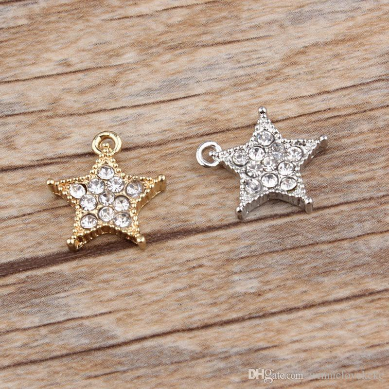 Clear Rhinestone Star Charms Pendant Silver   Gold Plated 13 14mm ... 3b07890a3342